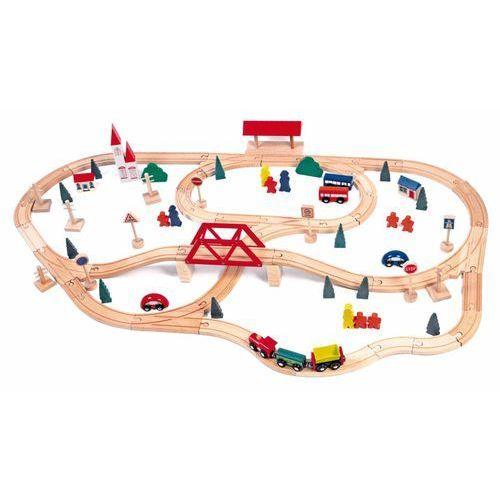 Woody drewniana kolejka, most i stacja