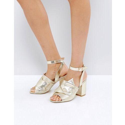 Park lane oversized knot front heel sandal - gold