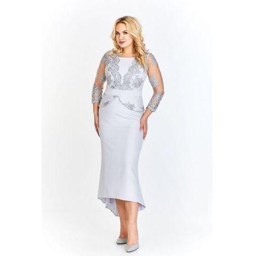 Wieczorowa sukienka z koronkową górą, rękawem 7/8 a'la baskinką i dołem a'la syrenka dłuższym z tyłu, wieczorowa