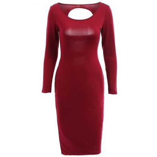 Alluring Scoop Neck Long Sleeve Cut Out Bodycon Dress For Women