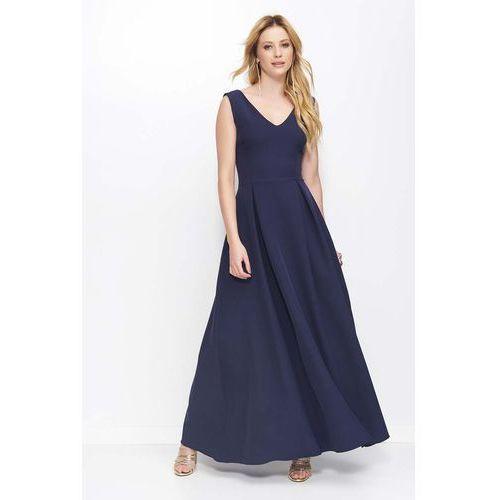 Makadamia Granatowa sukienka długa rozkloszowana na szerokich ramiączkach