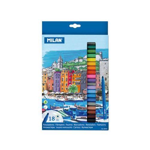 Milan Flamastry ze stożkową końcówką 18 kolorów