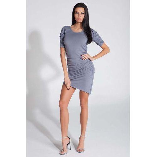 Szara sukienka asymetryczna z ozdobnym drapowaniem marki Fobya