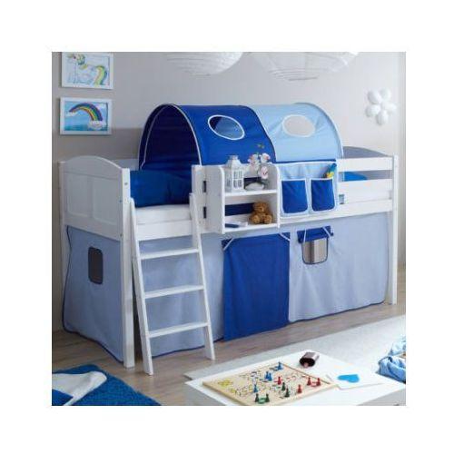 Ticaa łóżko z drabinką eric, białe drewno sosnowe country kolor jasno- i ciemnoniebieski marki Ticaa kindermöbel
