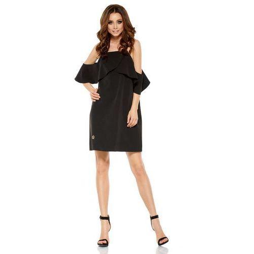 Czarna Wyjątkowa Trapezowa Sukienka z Falbanką z Odkrytymi Ramionami, w 3 rozmiarach