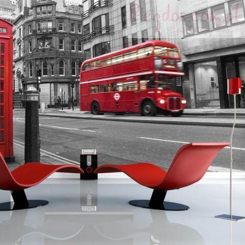 Artgeist Fototapeta - londyn: czerwony autobus i budka telefoniczna