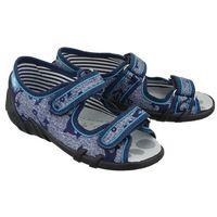 REN BUT 33-378 LS-0717 jeans kotwice, kapcie dziecięce, rozmiary: 26-30 - Granatowy, kolor niebieski