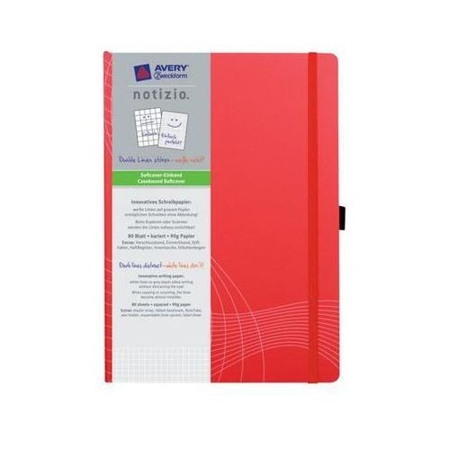 Notatnik notizo a4 w kratkę w plastikowej okładce 80 kartek, czerwony marki Avery zweckform