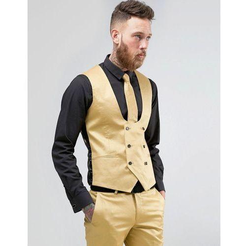 Noose & Monkey Super Skinny Suit Waistcoat In Metallic - Gold - sprawdź w wybranym sklepie