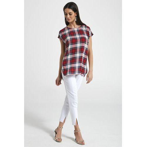 Koszulowa bluzka w kratę - Ennywear, kolor czerwony