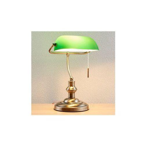 Lampenwelt Milenka – lampa biurkowa z zielonym kloszem