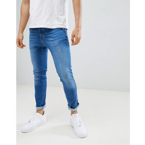 River island skinny jeans in mid wash blue - blue