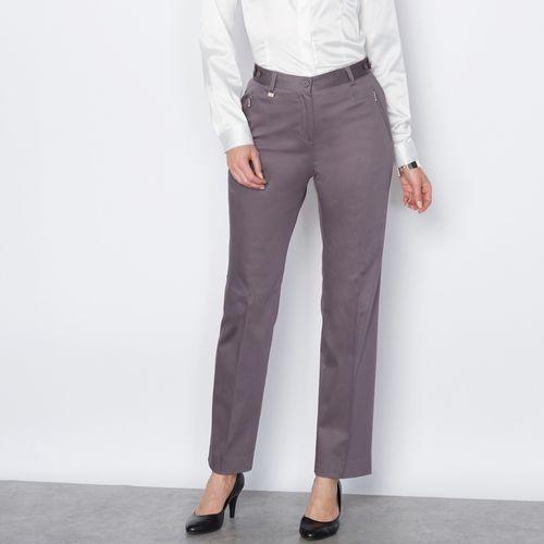 Spodnie z satynowej bawełny ze stretchem, kolor ZIELEŃ