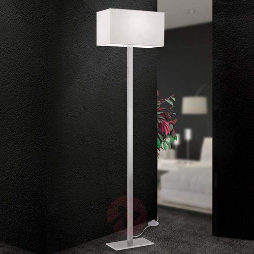 Materiałowa lampa stojąca Grigor z białego lnu (9003090249565)