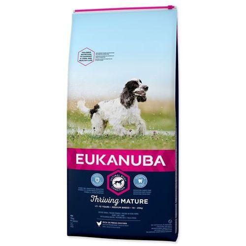 Eukanuba Duże opakowanie + 2 x 200 g barkoo mini bones gratis! - thriving mature medium breed, kurczak, 15 kg   dla psa - edycje urodzinowe! (8710255120966)
