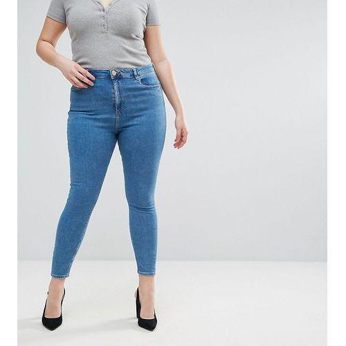 Asos design curve ridley high waist skinny jeans in light wash - blue, Asos curve