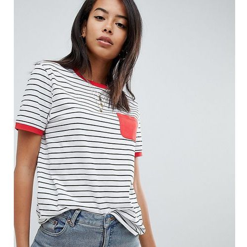 Asos design tall stripe t-shirt with contrast pocket and contrast binding - multi, Asos tall