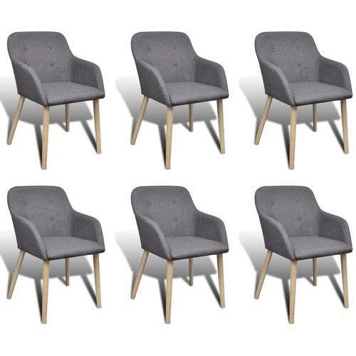 Krzesła do jadalni z dębową ramą, 6 szt., materiał, ciemnoszare, kolor szary