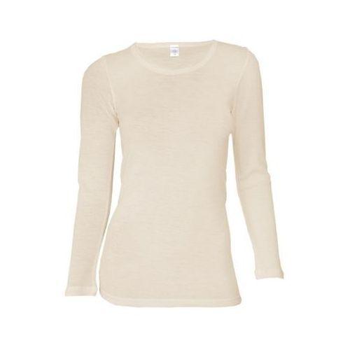 Koszulka damska z dł. rękawem z wełny merynosów 100%- Dilling: rozmiar - L, kolor - ecru, kolor beżowy
