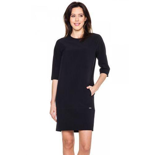 Czarna sukienka z kieszeniami - Sobora, 1 rozmiar
