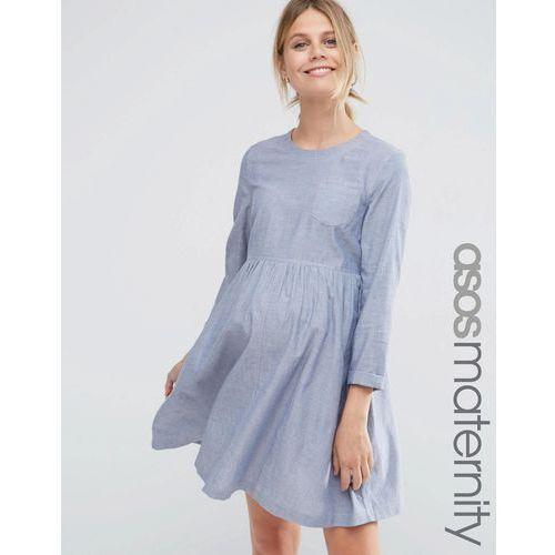 long sleeve chambray smock dress - blue marki Asos maternity