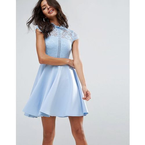 Asos high neck mini skater dress with lace top - blue