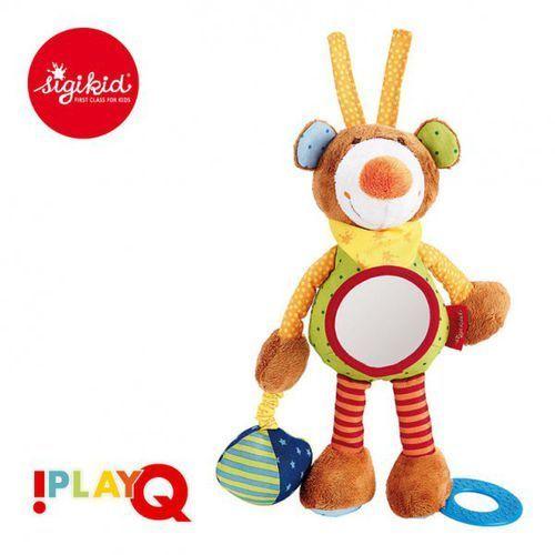 przytulanka aktywizująca miś z gryzakiem, lusterkiem, wibracją i szeleszczącą folią 6m+ playq marki Sigikid