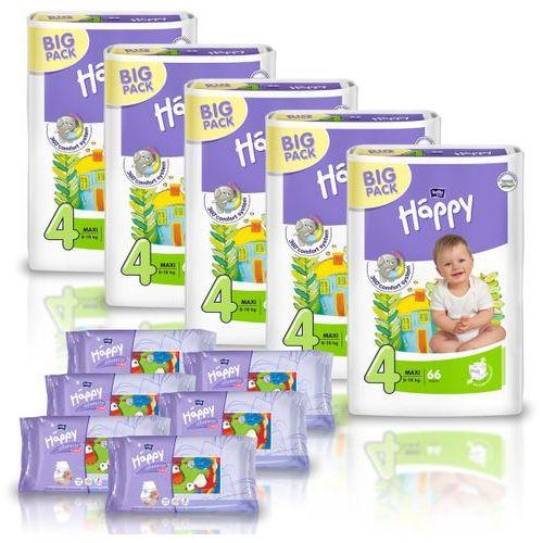 Pieluszki Happy Maxi 5x66szt. + GRATIS 6x Chusteczki nasączone Happy