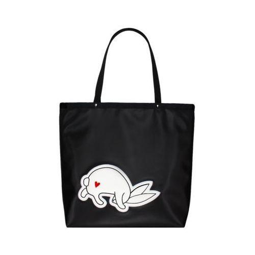 Czarna torba shopper z haftem -  marki Goshico