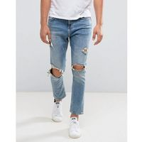 skinny tapered jeans with rips in mid wash - blue, Bershka