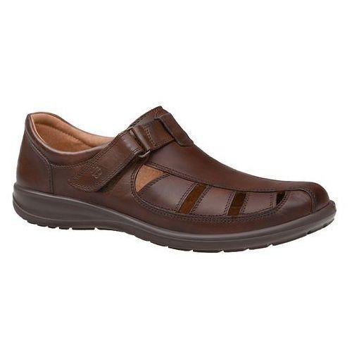 Półbuty sandały męskie 3216-225 brązowe - brązowy, Badura