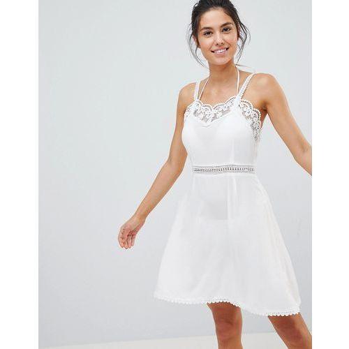 Glamorous Crochet Trim Beach Dress - White, kolor zielony