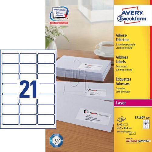 Etykiety adresowe do drukarek laserowych białe 63,5mm x 38,1mm 100 arkuszy Avery, BP16872
