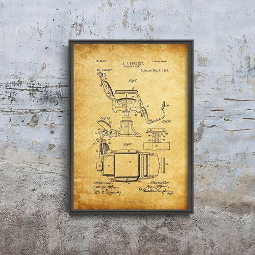 Plakat w stylu vintage plakat w stylu vintage krzesło fryzjerskie rollert marki Vintageposteria.pl