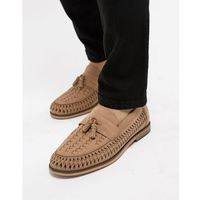leather loafers with tassels in stone - stone, River island