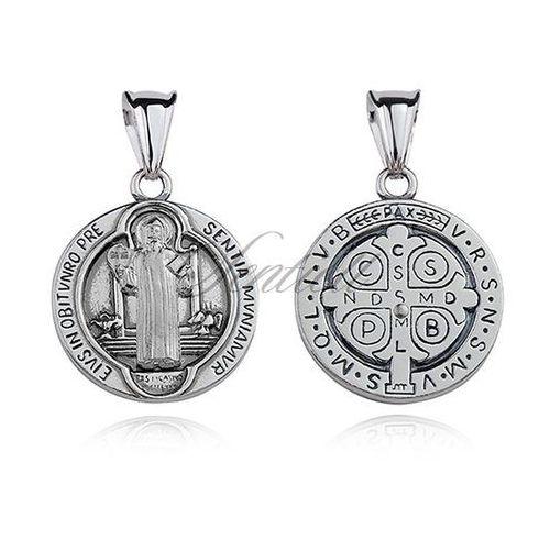 Sentiell Srebrny oksydowany medalik pr.925 święty benedykt