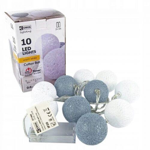 Emos Girlanda łańcuch 10led 1m bawełniane kule szare niebieskie 2xaa timer ww zy1966