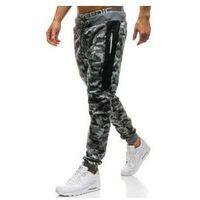 Spodnie męskie dresowe joggery moro-szare denley qn271, P&l fashion