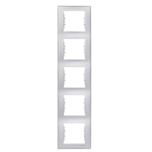 SEDNA Ramka 5 pięciokrotna pionowa aluminium SDN5801560 SCHNEIDER, kolor srebrny