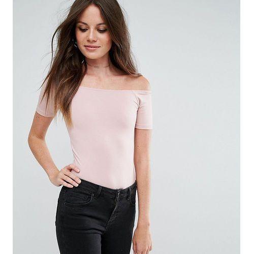 short sleeve off shoulder body in longer length - pink marki Asos tall