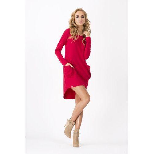 Czerwona Dresowa Asymetryczna Sukienka z dużymi kieszeniami, DM159re