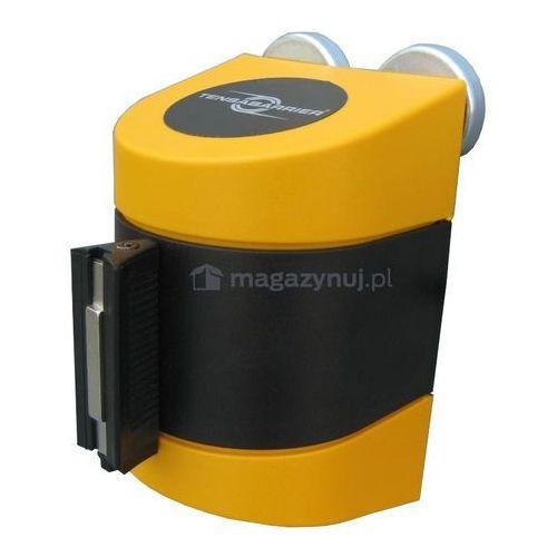 Taśma ostrzegawcza rozwijana w kasecie mocowanej na magnes. MAXI. Zapięcie standardowe (Długość 7,7 m)