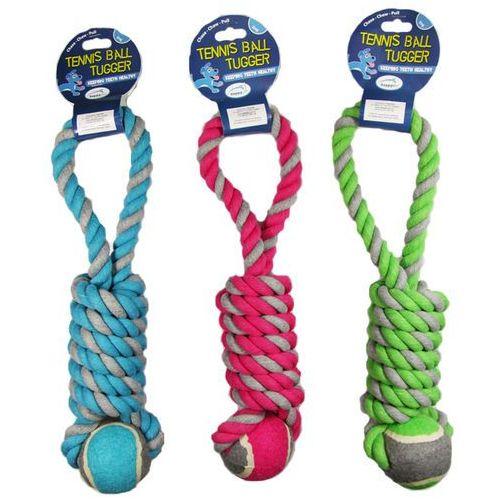 Zabawka dla psa wykonana ze sznura i piłki tenisowej