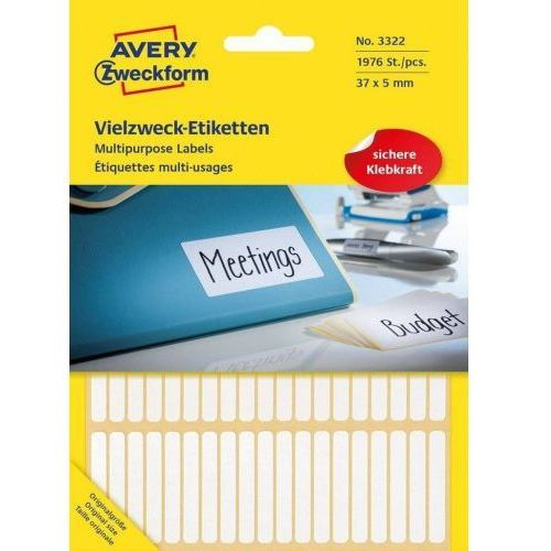 Avery zweckform Mini etykiety w arkuszach do opisywania ręcznego, 37 x 5mm, białe, 1976 sztuk, 1_676481