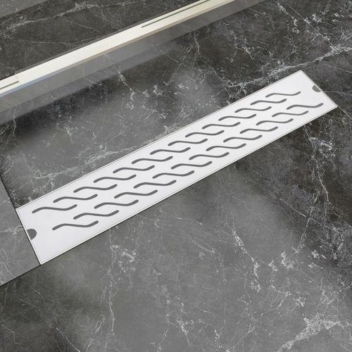 Vidaxl  kratka odpływowa, liniowa, 630x140 mm, wzór fali, stal nierdzewna (8718475979050)
