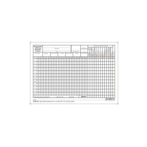 Roczna karta ewidencji obecności w pracy A5 [Pu/Os-227]
