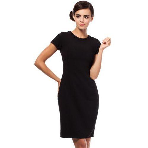 Czarna Ołówkowa Sukienka z Wycięciami na Plecach z Krótkim Rękawem, ołówkowa