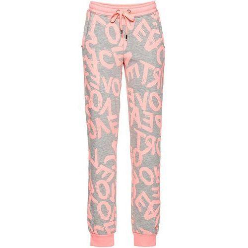Bonprix Spodnie sportowe, długie  jasnoszary melanż - neonowy jasnoróżowy