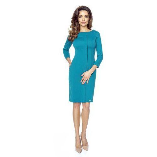 Bergamo Zielona dopasowana sukienka z plisą na przodzie