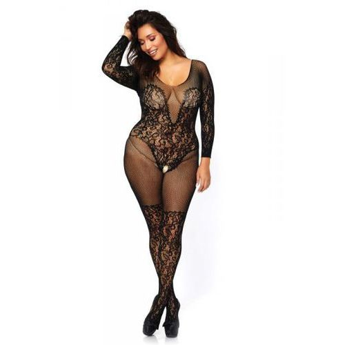Vine lace and net bodystocking